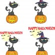 Halloween Black Cat With A Witch Hat On Pumpkin Character. Collection Set — Stock Photo #54654833