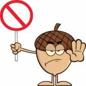 Personagem de desenho animado de bolota irritado segurando uma placa de pare — Fotografia Stock
