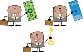 Businessman Dude Cartoon Character 11  Collection Set — Stock Photo