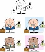 Businessman Dude Cartoon Character 4  Collection Set — Stock Photo