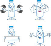 Funny Milk Bottle Cartoon Characters 1. Collection Set — Stock Photo