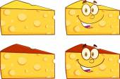 Wedge Of Cheese Illustration. Collection Set — 图库照片