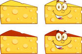 Wedge Of Cheese Illustration. Collection Set — Stock Photo