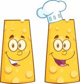 Smiling Wedge Of Cheese Character. Collection Set — Stock Photo