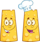 Smiling Wedge Of Cheese Character. Collection Set — Stockfoto