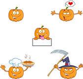 Pumpkin Cartoon Character Series 7. Collection Set — Stock Photo