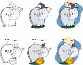 Spooky Ghost Cartoon Character Series 2. Collection Set — Stock Photo