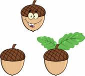 Acorns Cartoon Illustrations. Collection Set — Stockfoto