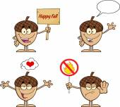 Acorn Cartoon Character Series 3. Collection Set — Stock Photo