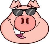 Happy Pig Head Cartoon Mascot Character — Stock Photo