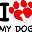 I Love My Dog Text With Red Heart Paw Print And Dog Head Silhouette — Stock Photo #55202329