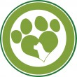 Love Paw Print Green Circle Banner Design With Dog Head Silhouette — Stock Photo #55202449
