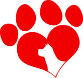 Red Love Paw Print With Dog Head Silhouette — Stock Photo