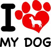 I Love My Dog Text With Red Heart Paw Print And Dog Silhouette — Stockfoto