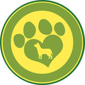 Love Paw Print Circle Banner Design With Dog Silhouette — Foto Stock