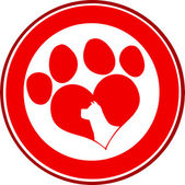 Love Paw Print Red Circle Banner Design With Dog Head Silhouette — Stock Photo