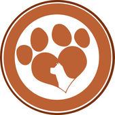Love Paw Print Brown Circle Banner Design With Dog Head Silhouette — Stok fotoğraf