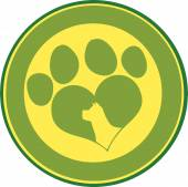 Love Paw Print Green Circle Banner With Dog Head Silhouette — Foto de Stock