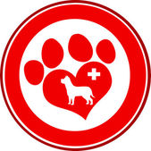 Veterinary Love Paw Print Red Circle Banner Design With Dog And Cross — Stock Photo