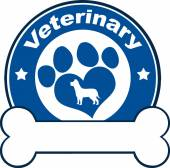 Veterinary Blue Circle Label With Love Paw Dog And Bone Under Text — Stock Photo