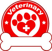 Veterinary Red Circle Label Design With Love Paw Print,Cross And Bone Under Text — Stock Photo