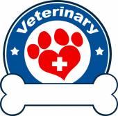 Vétérinaire Blue Circle Label Design avec amour Paw Print, Croix et d'os sous le texte — Photo