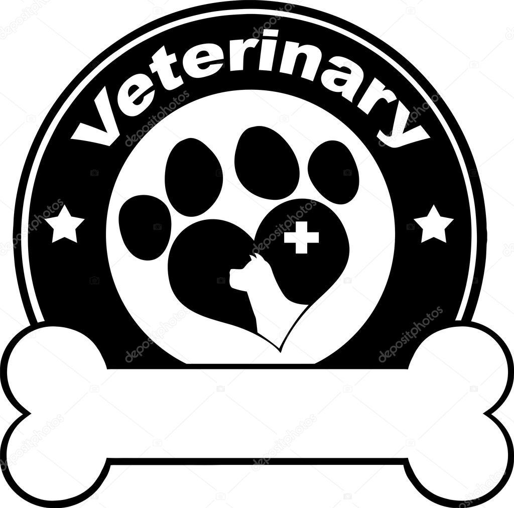 兽医的黑色圆标签设计与爱狗爪子