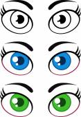 Women Cartoon Eyes. Collection Set — Foto Stock