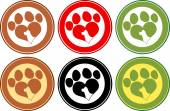 Love Paw Print Circle Banners Design With Dog Head Silhouette. Collection Set — Stock Photo