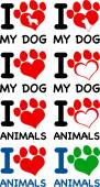 I Love Animals Text With Heart Paw Prints. Collection Set — Stock Photo