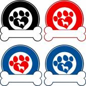 Veterinary Circle Labels With Love Paw Dog And Bone. Collection Set — Stok fotoğraf