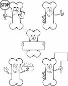 Black And White Funny Bone Cartoon Character 2.Collection Set — Stock Photo