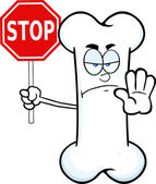Angry Bone Cartoon Mascot Character Holding A Stop Sign — Stock Photo