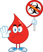 Angry Red Blood Drop Character Holding A Stop Ebola Sign With Bio Hazard Symbol And Text — Stock Photo