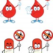 Red Drop And Pill Characters With Ebola Stop Sign. Collection Set — Stock Photo #57014813