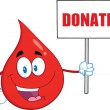 Red Blood Drop Cartoon Mascot Character Holding Up A Blank Sign With Text Donate — Stock Photo #57014899