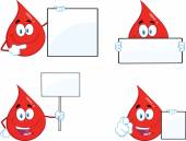 Red Drop Cartoon Character In Different Poses 2. Collection Set — Stock Photo