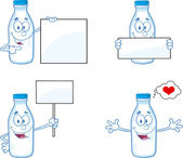 Milk Bottle Cartoon Character In Different Poses 2. Collection Set — Stock Photo