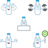 Milk Bottle Cartoon Character In Different Poses 3. Collection Set — Stock Photo