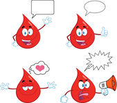 Red Drop Cartoon Character In Different Poses 7. Collection Set — Stock Photo