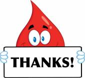 Smiling Red Blood Drop Cartoon Mascot Character Holding A Banner With Text Thanks — Stock Photo