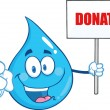 Water Drop Character Holding Up A Blank Sign With Text Donate — Stock Photo #57859853