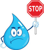 Angry Water Drop Cartoon Mascot Character Holding up A Forbidden Sign — Stock Photo