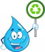 Happy Water Drop Character Holding A Recycle Sign — Stock Photo