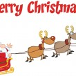 Merry Christmas Greeting With Santa Claus In Flight With His Reindeer And Sleigh — Stock Photo #58515523