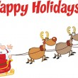 Happy Holidays Greeting With Santa Claus In Flight With His Reindeer And Sleigh — Stock Photo #58515579