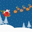 Santa Claus In Flight With His Reindeer And Sleigh In Christmas Night — Stock Photo #58515593