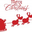 Merry Christmas Greeting With Santa Claus In Flight With His Reindeer And Sleigh Silhouettes — Stock Photo #58515621