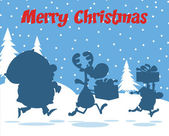 Merry Christmas Greeting With Santa Claus,Reindeer And Elf Silhouettes — Stock Photo
