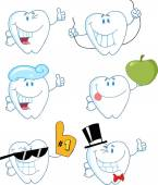 Tooth Cartoon Characters — Stock Vector